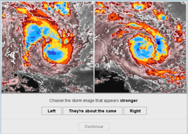 Questions include whether the storm is getting more or less intense compared to an image from earlier in the storm lifecycle.