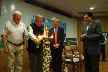 The inauguration ceremony of the wither school, from left Prof. Ola M. Johannessen, Dr. Shailesh Nayak, Ambassador Nils Ragnar Kamsvåg and Dr. Satheesh Shenoi.