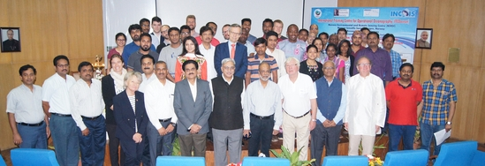 The student and faculty participants of the PhD and Post-doc wither school in operational oceanography and ocean modelling at INCOIS in Hyderabad.