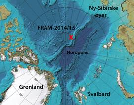 Startposisjonen for den norske isdriftstasjonen FRAM-2014/15 er markert med rødt kryss. Kilde: Nansensenteret.