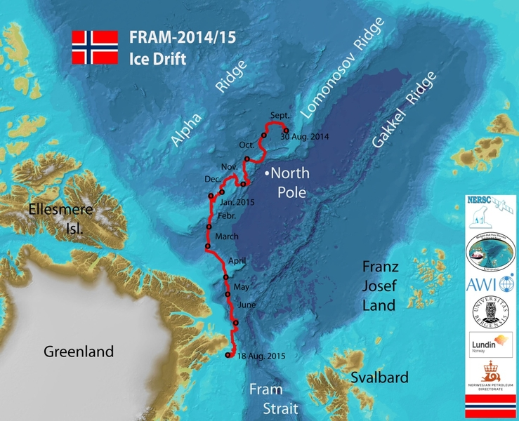 The one year FRAM-2014/15 sea ice drift across the Arctic Ocean. Courtesy: Y. Kristoffersen, NERSC.