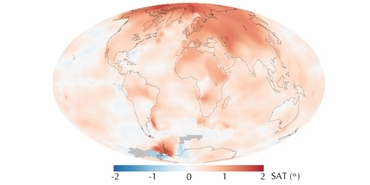 Annual SAT anomalies for 2000 to 2009 compared to the norm for that region from 1951 to 1980. Credit: NASA, image by R. Simmon, based on GISS surface temperature analysis data including ship and buoy data from the Hadley Centre, http://earthobservatory.nasa.gov.