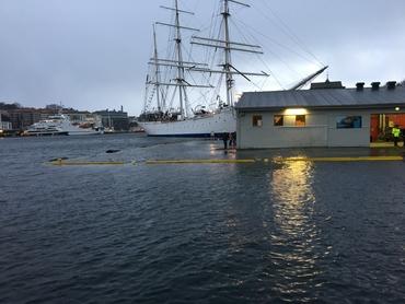 Stormflo på Bryggen i Bergen 12. januar, 2017. Bilde: Ulpu Leijala.