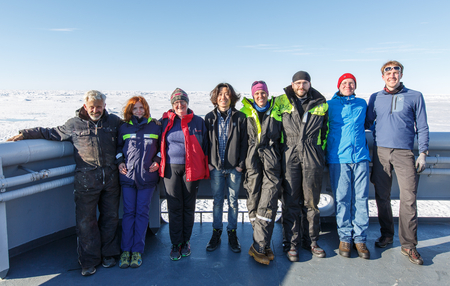 The scientific crew at the UNDER-ICE cruise with KV Svalbard to the Fram Strait in 2016.: Photo. Håkon Kjøllmoen, KV Svalbard.