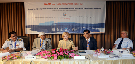 Winter school inauguration. From left: Captain Mir Imdadul Haque (Bangladesh Navy), Dr. Atiq Rahman (BCAS), Ambassador HE Merete Lundemo (Norwegian Embassy Dhaka), Prof. Shamsul Alam (B. Planning Commission), and Prof. Ola M. Johannessen (NERSC/Nansen Sci