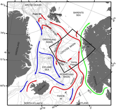 The circulation in the Nordic Seas.: The Nordic Seas with schematic pathways indicating the overturning circulation from warm inflowing Atlantic Water in the sur- face (red) to cold and dense overflows to the deep North Atlantic (blue). The Norwegian Atlantic slope current (NwASC), here termed as the slope current, and the Norwegian Atlantic front current (NwAFC) are represented by red arrows. The fresh Norwegian Coastal Current (NCC) is indicated in green.