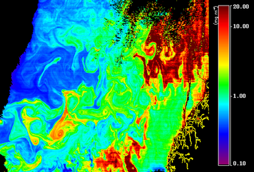 Planktonfordeling i Norskehavet den 1. mai 2011. Kilde: Feldman, G. C., C. R. McClain,  Ocean Color Web, MODIS Reprocessing 2009, NASA Goddard Space Flight Center. Eds. Kuring, N., Bailey, S. W., March 28. 2011. http://oceancolor.gsfc.nasa.gov/