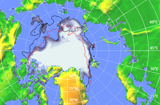 Figur 1: Utbredelse og konsentrasjon av sjøisen i Arktis den 10. september 2016.  Tilsvarende er utbredelsen av sjøisen i september 2015 (sort kurve) og i 2012 (rød kurve) markert. Kilde: A. Vines, NERSC og www.arctic-roos.org.