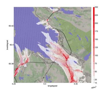 Modellert konsentrasjon av NO2 på en typisk vinterdag i Bergen med inversjon.