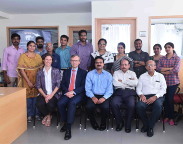 Ambassador Nils Ragnar Kamsvaag, secretary Ragnhild Vognild from the Norwegian Embassy and staff and students at NERCI in Cochin.