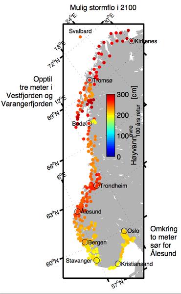 Forventet stormflo havnivå i Norge rundt i 2100. Illustrasjon: Jan Even Øie Nilsen, Nansensenteret.