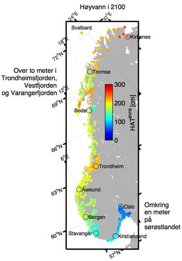 Forventet høyvann Norge rundt om 90 år. Illustrasjon: Jan Even Øie Nilsen, Nansensenteret.