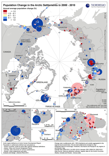 Population changes in Arctic settlements from 2000 to 2010. Source NORDREGIO.
