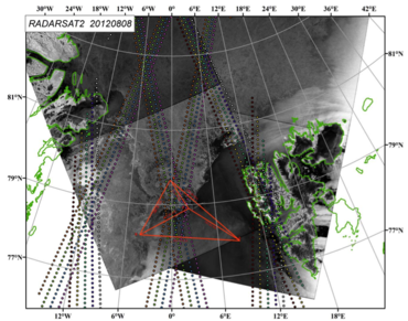 Figure: RADARSAT 2 of 8 August 2012, showing the ACOBAR experiment area and the CRYOSAT satellite tracks with ice thickness measurments.