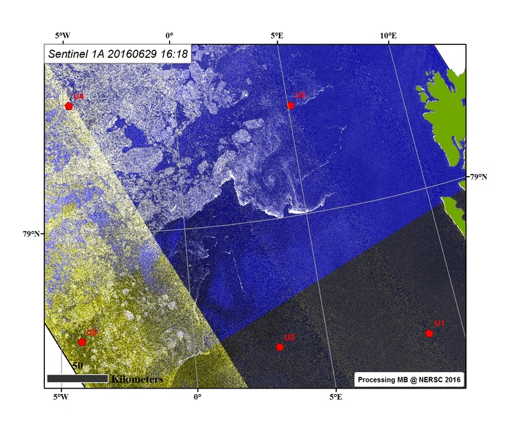 Sentinel-1A images as of 29 June including the UNDER-ICE mooring locations to be recovered.