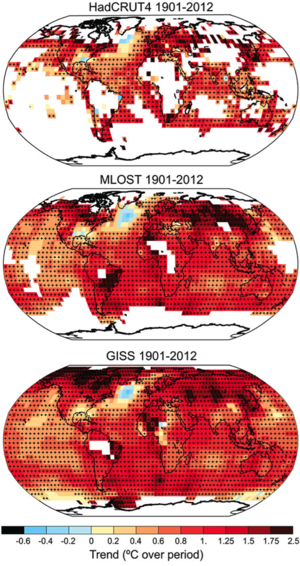 Trends in surface temperature across the globe: Trends are ordinary least squares regression fits where enough data exist. Trends which are significant are highlighted by crosses. Significance testing accounts for autocorrelation effects (that one year being warm increases chances of following year being warm and vice-versa). Figure arises from IPCC WGI AR5 Final Draft 07 June and is subject to potential copy editing and change prior to final publication per documentation to be released after final plenary.