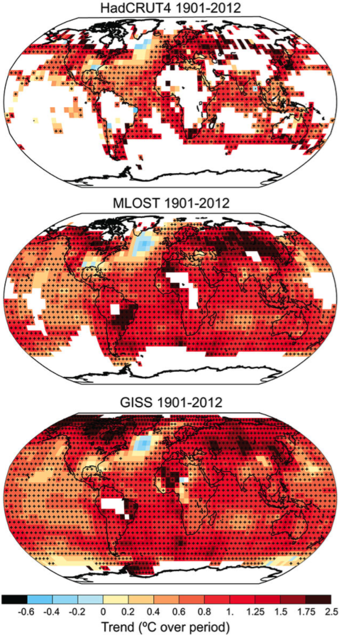 Trends in surface temperature across the globe.