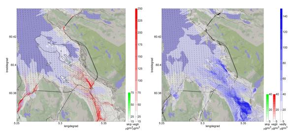 Modellert spredning og konsentrasjon av NO2 (venstre) og PM2.5 (høyre) for vintersituasjon med inversjon. Grønt viser bidraget fra skip, rødt viser bidraget fra vegtrafikk og blått (bare for PM2.5 ) viser bidrag fra vedfyring. Konturlinjene (25, 50 og 75 %) viser relativ bidrag fra skip i forhold til total konsentrasjon.