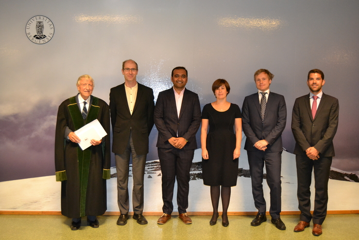 From left: Alf Hartvig Øien (UoBergen), Laurent Bertino (NERSC),  Dr. Abhishek Shah, Tijana Janjic-Pfander (Hans Ertel Center for Weather Research,  German Weather Service), Erik Hanson (UoBergen) and François Massonnet (UCLouvain).