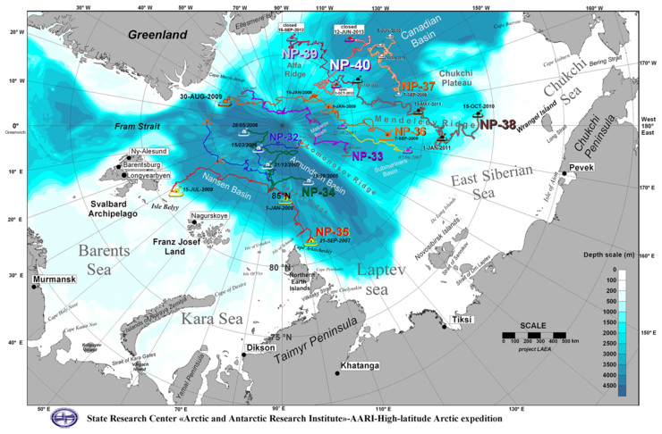 "Figure 3: Trajectories of Russian ""North Pole"" drifting stations in the 21st century."