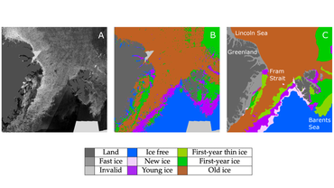 Difference between an automated and a manual sea ice chart: A: Mosaic of SAR images from the ESA Sentinel-1 satellite for 1 April 2020. B: An automated ice chart produced by the CNN developed at NERSC. C: A manual ice chart produced at the U.S. National Ice Center.