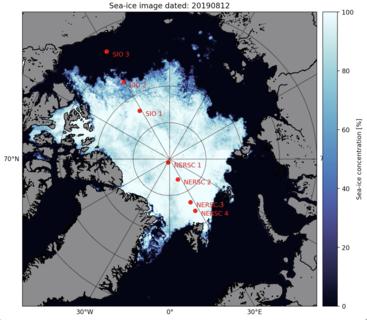 Kartfigur: Sjøisutbredelsen i Arktis pr. 12. august 2019, basert på AMSER2 data fra Universitet i Bremen. Optimal plassering av de akustiske CAATEX riggene - de fire som skal plasseres ut av KV Svalbard i Nansen-og Amundsen-bassengene og de tre Amerikanske/Canadiske riggene som skal USCGC Healy i Beauforthavet. Kilde: caatex.nersc.no.