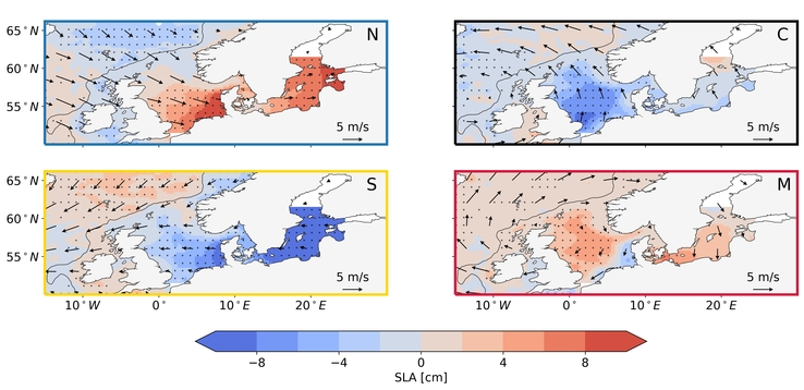 Composite maps of the daily sea level anomaly (shading, in cm) and 10 m wind anomaly (arrows, in m/s) for each jet cluster: (N) Northern jet cluster, (C) Central jet cluster, (S) Southern jet cluster, (M) Mixed jet cluster. The black dots denote the regions where the sea level anomaly composite is significantly different from zero at a 0.05 significance level. They grey line shows the location of the continental slope, depicted by the 500 m isobath.