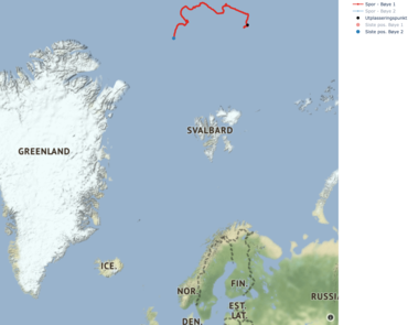 Skjermdump fra 24.09.2020, posisjonen av bøyene siden utsettelsen. Å trykke på bildet fører deg direkte til det interaktive kartet på prosjektets nettside.