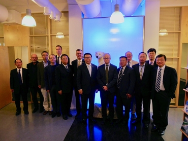 President of Chinese Academy of Sciences Professor Chunli Bai and the CAS delegation at the Nansen Center together with scientists from the three partner institutions in Bergen behind the Nansen-Zhu International Research Center.