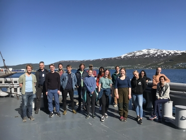 Students and researchers joining the UAK research school cruise.: Photo: Hanne Sagen, NERSC