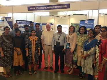 Most of the staff of NERCI, Annette Samuelsen and Lasse Pettersson (NERSC) and Abu Syed (NABIC) gathered at the NERCI exhibition booth during CLIMFISHCON 2020 in Cochin.