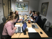 Students looking at their acquired datasets.: Photo: Hanne Sagen, NERSC