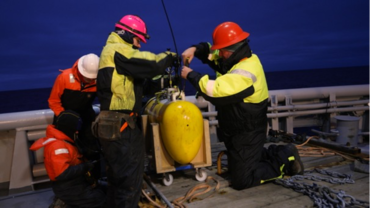 First mooring recovery was made for the INTAROS mooring North of Svalbard. This recovery was made in open water and relatively calm sea. Jim Ryder from WHOI and Espen Storheim from NERSC are taking care of the profiling instrument on deck.: Photo: Hanne Sagen, NERSC