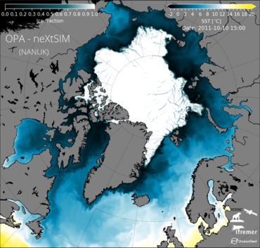 Model image, compiled by Guillaume Boutin: The percentage of the sea surface covered by sea ice (Ice fraction) superimposed on a map of the sea surface temperature (SST) given by the coupled model we develop. The date shown here is October 10th 2011, Nansen's 150th birthday. The data used to force the model (for example wind and temperature) come from the ERA5 dataset distributed by the European Centre for Medium-Range Weather Forecasts (ECMWF). The development of the coupled model is a result of a collaboration between NERSC, Ifremer (Brest, France) and OceanNext (Grenoble, France).