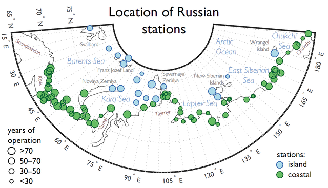 Location of Arctic stations: Location of Arctic stations used in the project