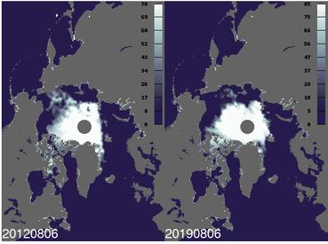 Satellittbilder: Sjøisutbredelsen i Arktis den 6. august i hhv. 2012 og 2019. Kilde: Tor Olaussen, NERSC.