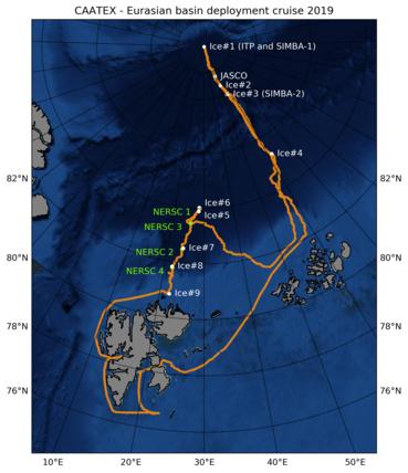 Kartfigur: KV Svalbard sin seilingsrute i Polhavet i perioden 14. august til 9 september, samt posisjon for utsetting av de fire oseanografiske og akustiske riggene og isstasjonene # 1 til 8. Illustrasjon: Espen Storheim, Nansensenteret 20©19.
