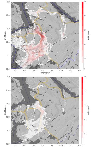 Figure: Modellert spredning og konsentrasjon av utslipp av PM2.5 fra 80.000 vedovner i hele Bergen kommune med eksisterende fordeling av rentbrennende og ikke-rentbrennende ovner (øvre kart). Tilsvarende model resultat med utskifting av alle ildsteder i hele kommunen til rentbrennende (nedre kart). Vindvektorene viser vind i 55 meters høyde over havet (i øvre kart).