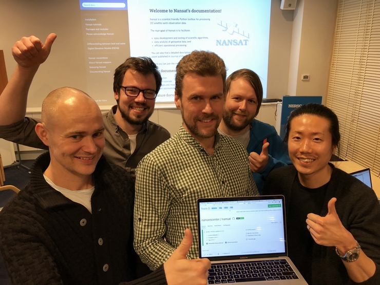 Developing Nansat: From left: Morten Wergeland Hansen, Artem Moiseev, Anton Korosov, Aleksander Vines and Jeong-Won Park