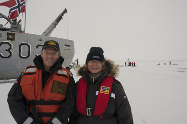 Photo: Commanding officer Geir-Martin Leinebø and Cruise leader Dr. Hanne Sagen at the North Pole 21. August 2019. Credit: Norwegian Coast Guard.