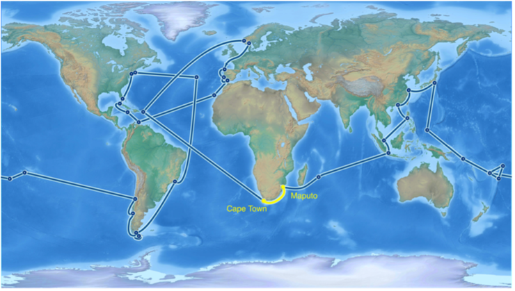 The route of Statsraad Lehmkuhl during the One Ocean Expedition. We will be onboard between Maputo and Cape Town in January 2023. Source: https://oneoceanexpedition.com/route-and-tickets, with our leg highlighted in yellow.
