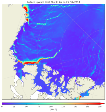 Simulating sea ice break-up in the Beaufort Sea: In 2013 a large break-up of the winter sea ice cover occurred in the Beaufort Sea. For the first time, this event is simulated using the state-of-the-art sea ice model neXtSIM. In the figure the formation of extensive fractures and leads are clearly visible and is associated with a large increase in the ocean-atmosphere heat flux (Wm^(-2)). Heat from the ocean entered the atmosphere above fractures and is indicated in warm colours. Such break-up events may have widespread implications including Arctic sea ice volume and ocean circulation. Figure produced by Jonathan Rheinlænder, NERSC