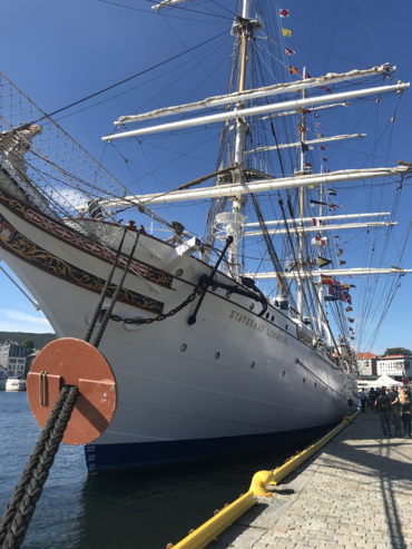 : Statsraad Lehmkuhl in port in Bergen, 20.08.2020 before the press conference announcing the One Ocean Expedition: Photo: Sebastian Mernild, NERSC