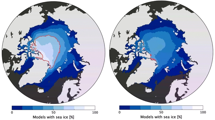 Figure 2: Low emission scenario (SSP126) on the left  vs. high emission scenario (SSP585) on the right for the year 2050. The red line indicates the extent of sea ice that 50 % of the models used predict for 2050.: Graphic: Richard Davy, NERSC