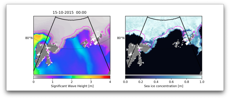 Wave height (left) and sea ice concentration (right) during a 10-day period in the Barents Sea north and northeast of Svalbard. Sea ice concentration is the percentage of the ocean covered with sea ice. The purple line indicates the area of sea ice that experienced the most damage due to being fragmented by waves.