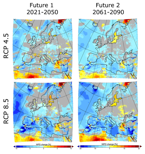 The percentage change in Wind Power Density from the historical period to the Future1 period (left column) and to the Future2 period (right column), under the RCP 4.5 (upper) and RCP 8.5 (lower) scenarios. This is the ensemble-mean change, shown for all regions where at least four of the five simulations agreed as to the direction of change (other areas are marked in grey). Source: Figure 7 in Davy et al., 2017.