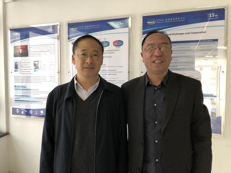 In Beijing: Huijun Wang (left), founding director of NZC and former director-general of IAP (left) and Yongqi Gao, co-director of NZC, research director at NERSC